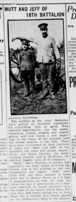 Mutt and Jeff of the 18th Battalion London Advertiser March 29 1915 Page 1