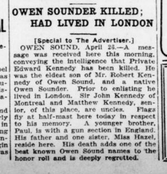 Owen Sounder Killed Had Lived in London London Advertiser April 27 1916 Page 9
