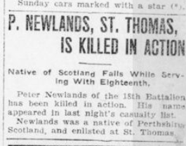 P Newlands St Thomas is Killed in Action London Advertiser January 11 1916 Page 3