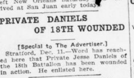 Private Daniels of 18th Wounded London Advertiser December 11 1915 Page 4