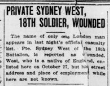 Private Sydney West 18th Soldier Wounded