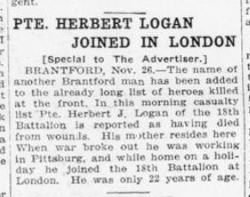 Pte Herbert Logan Joined In London London Advertiser November 27 1915 Page 11