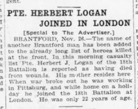 Pte Herbert Logan Joined In London London Advertiser November 27 1915 Page 11