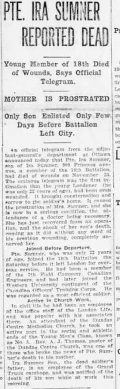 Pte Ira Sumner Reported Dead London Advertiser December 7 1915 Page 1