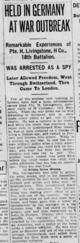 Pte Livingstone Held in Germany at War Outbreak Part 1 London Advertiser March 11 1915 Page 1