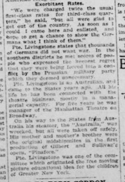Pte Livingstone Held in Germany at War Outbreak Part 2 London Advertiser March 11 1915 Page 1