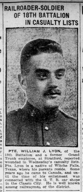 Railroader Soldier of 18th Battalion in Casualty Lists London Advertiser March 10 1916 Page 11