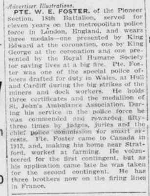 Recieved Two Medals from British Kings Part 2 London Advertiser March 25 1915 Page 1