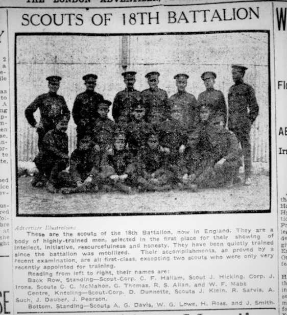 Scouts of the 18th Battalion London Advertiser August 1915 Page 3 Edit