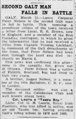 Second Galt Man Falls in Battle London Advertiser March 23 1915 Page 2
