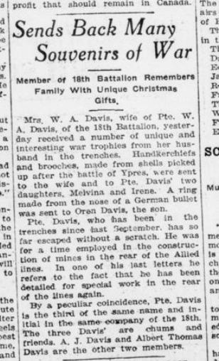 Sends Back Many Souvenirs of War London Advertiser January 7 1916 Page 2