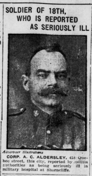 Soldier of 18th Who is Reported as Seriously Ill London Advertiser June 25 1915 Page 1