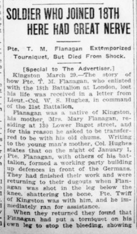 Soldier Who Joined 18th Here Had Great Nerve Part 1 London Advertiser March 29 1916 Page 12