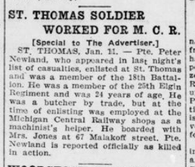 St Thomas Soldier Worked for MCR London Advertiser January 12 1916 Page 9