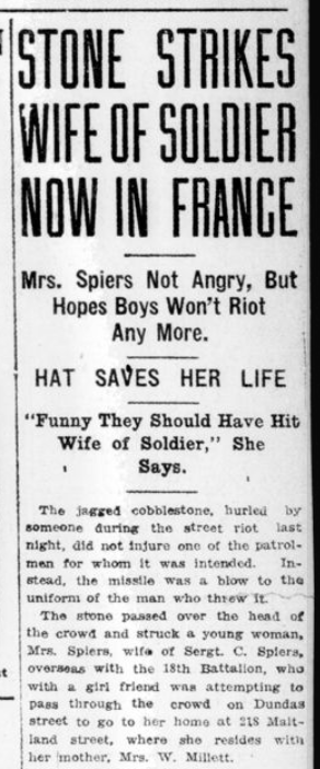 Stone Strikes Wife of Soldier Now in France Part 1 London Advertiser January 23 1915 Page 1