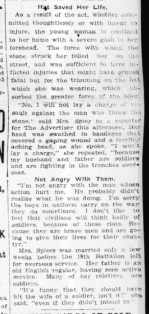 Stone Strikes Wife of Soldier Now in France Part 2 London Advertiser January 23 1915 Page 1