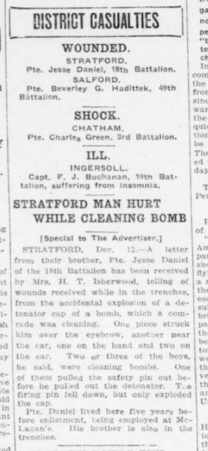 Stratford Man Hurt While Cleaning Bomb London Advertiser December 13 1915 Page 10