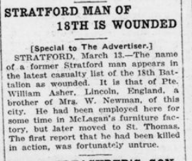 Stratford Man of 18th is Wounded London Advertiser March 14 1916 Page 4