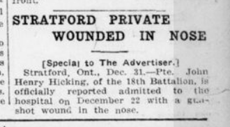 Stratford Private Wounded in Nose London Advertiser December 31 1915 Page 9