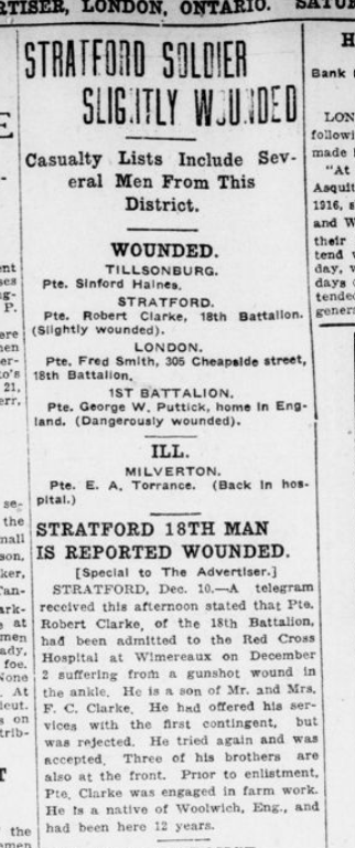 Stratford Soldier Slightly Wounded London Advertiser December 11 1915 Page 11