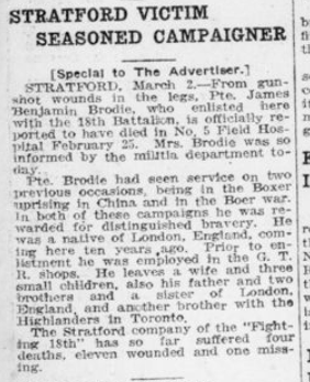 Stratford Victim Seasoned Campaigner London Advertiser March 3 1916 Page 11