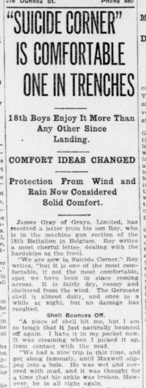 Suicide Corner is Comfortable One in the Trenches Part 1 London Advertiser December 29 1915 Page 14