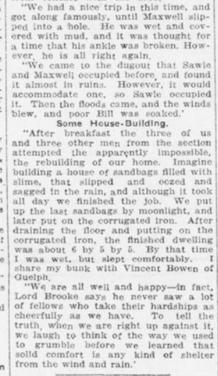 Suicide Corner is Comfortable One in the Trenches Part 2 London Advertiser December 29 1915 Page 14