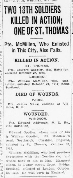 Two 18th Soldiers Killed in Action Of of St Thomas London Advertiser December 7 1915 Page 5