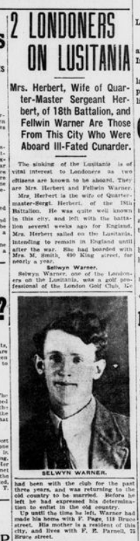 Two Londoners on Lusitania London Advertiser May 7 1915 Page 1