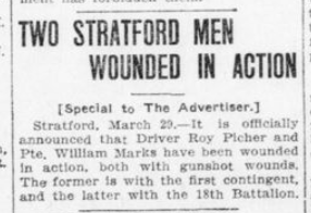 Two Stratford Men Wounded in Action London Advertiser March 29 1916 Page 1
