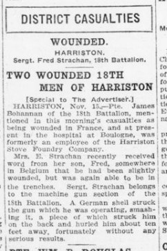 Two Wounded 18th Men of Harriston London Advertiser November 16 1915 Page 9
