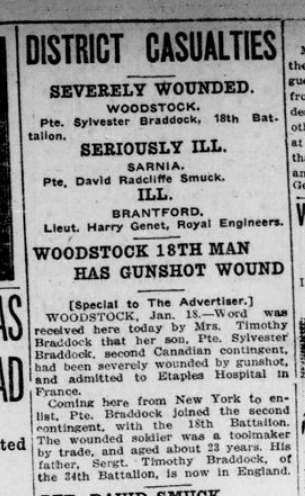 Woodstock 18th Man Has Gunshot Wound London Advertiser January 19 1916 Page 4