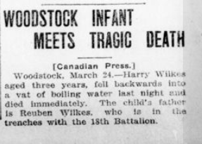 Woodstock Infant Meets Tragic Death London Advertiser March 2 1916 Page 4