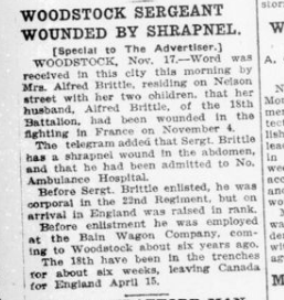 Woodstock Sergeant Wounded by Shrapnel London Advertiser November 18 1915 Page 9