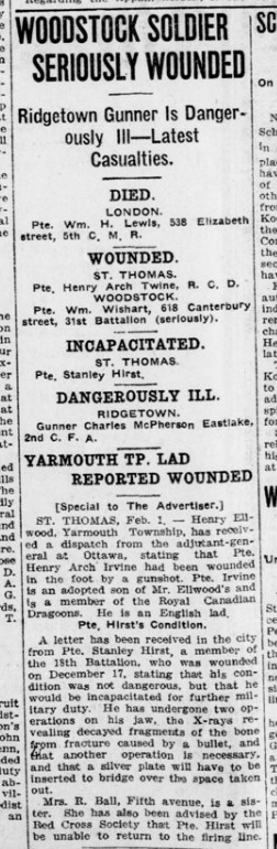 Woodstock Soldier Seriously Wounded London Advertiser February 2 1916 Page 10
