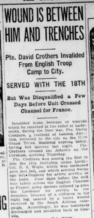Wound is Between Him and Trenches Part 1 London Advertiser October 30 1915 Page 4