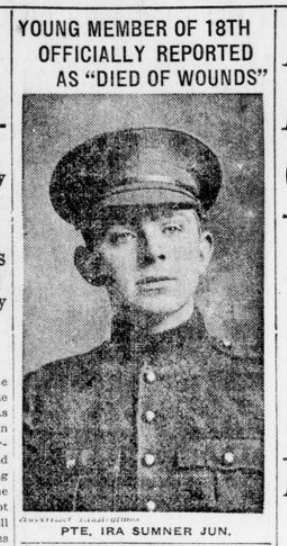 Young Member of 18th Officially Reported as Died of Wounds London Advertiser December 7 1915 Page 1