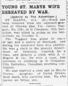 Young St Marys Wife Bereaved by War London Advertiser October 26 1915 Page 6