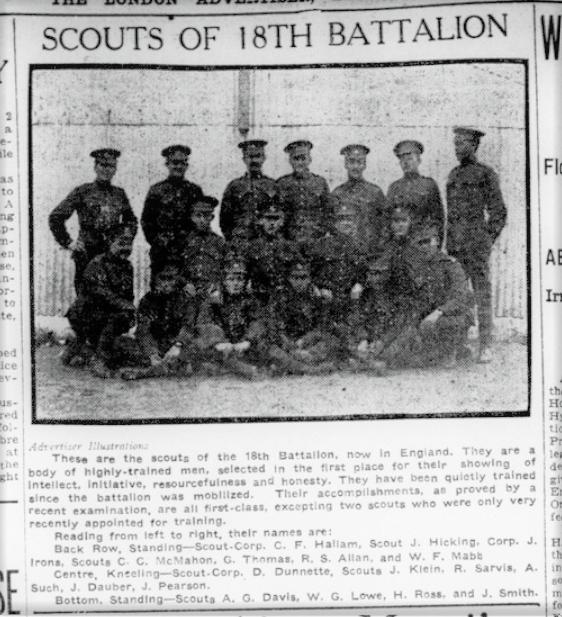 Altererd 1 Scouts of the 18th Battalion London Advertiser August 4 1915 Page 3