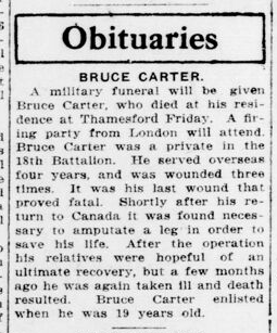 Bruce Carter London Advertiser February 18 1922 Page 1