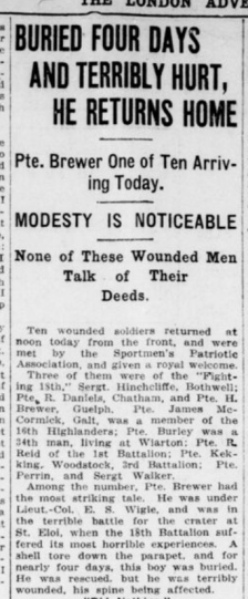 Buried Four Days and Terribly Hurt He Returns Home Part 1 London Advertiser June 29 1916 Page 13