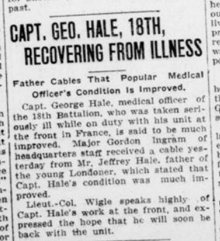 Capt Geo Hale 18th Recovering From Illness Advertiser May 29 1916 Page 2
