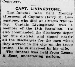Capt Livingstone London Advertiser March 13 1922 Page 1
