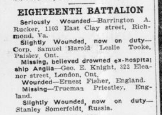 Casualties London Advertiser November 24 1915 Page 5