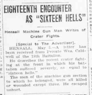 Eighteenth Encount as Sixteen Hells London Advertiser May 6 1916 Page 16