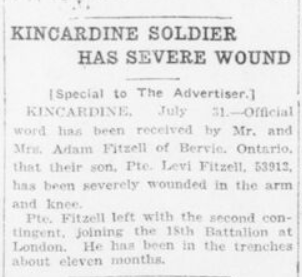 Kincardine Soldier Has Severe Wound London Advertiser August 1 1916 Page 10