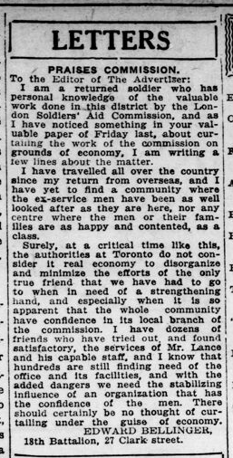 Letters Edward Bellinger London Advertiser August 121921 Page 6
