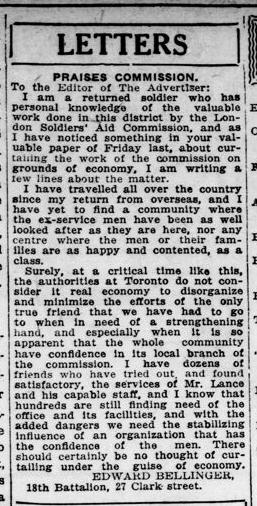 Letters Edward Bellinger London Advertiser August 121921 Page 6