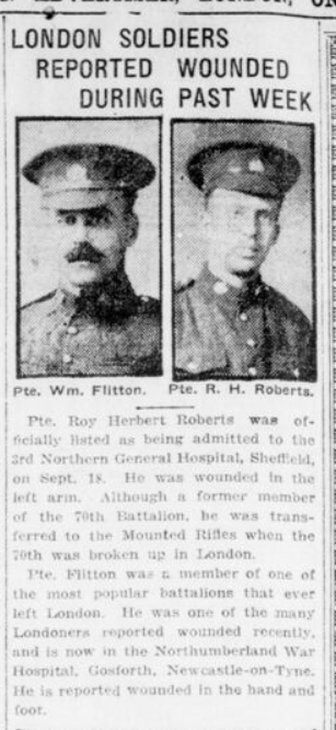 London Soldiers Reported Wounded Past Week London Advertiser September 25 1916 Page 2