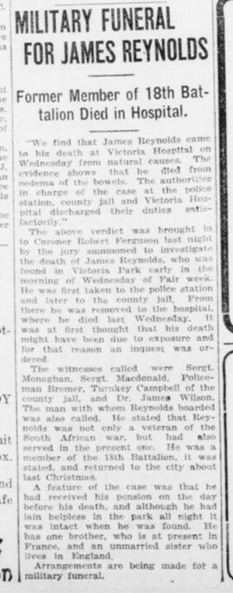 Military Funeral for James Reynolds London Advertiser September 22 1916 Page 14